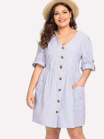 Plus Double Pocket Striped Shirt Dress