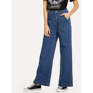 Dual Pocket Wide Leg Jeans