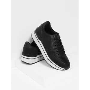 Sequin Panel Lace Up Trainers