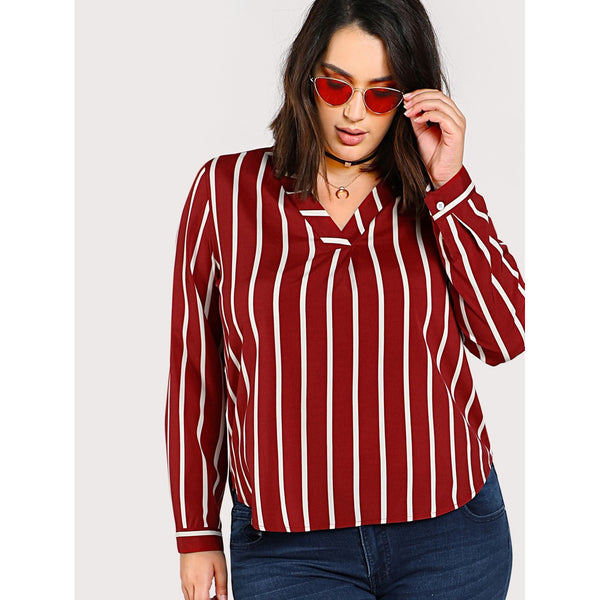 V Neck Dolphin Hem Striped Shirt - Anabella's