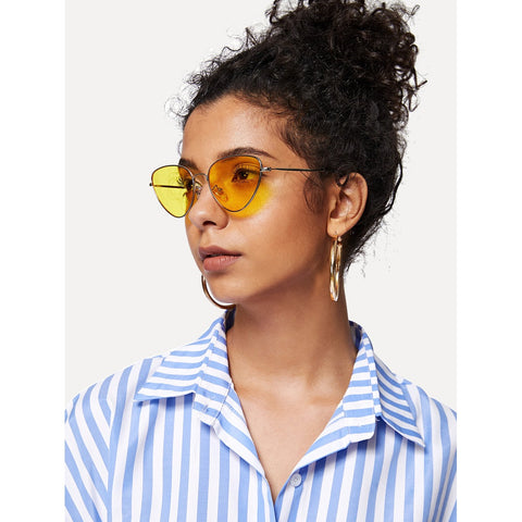 Oval Shaped Flat Lens Sunglasses YELLOW