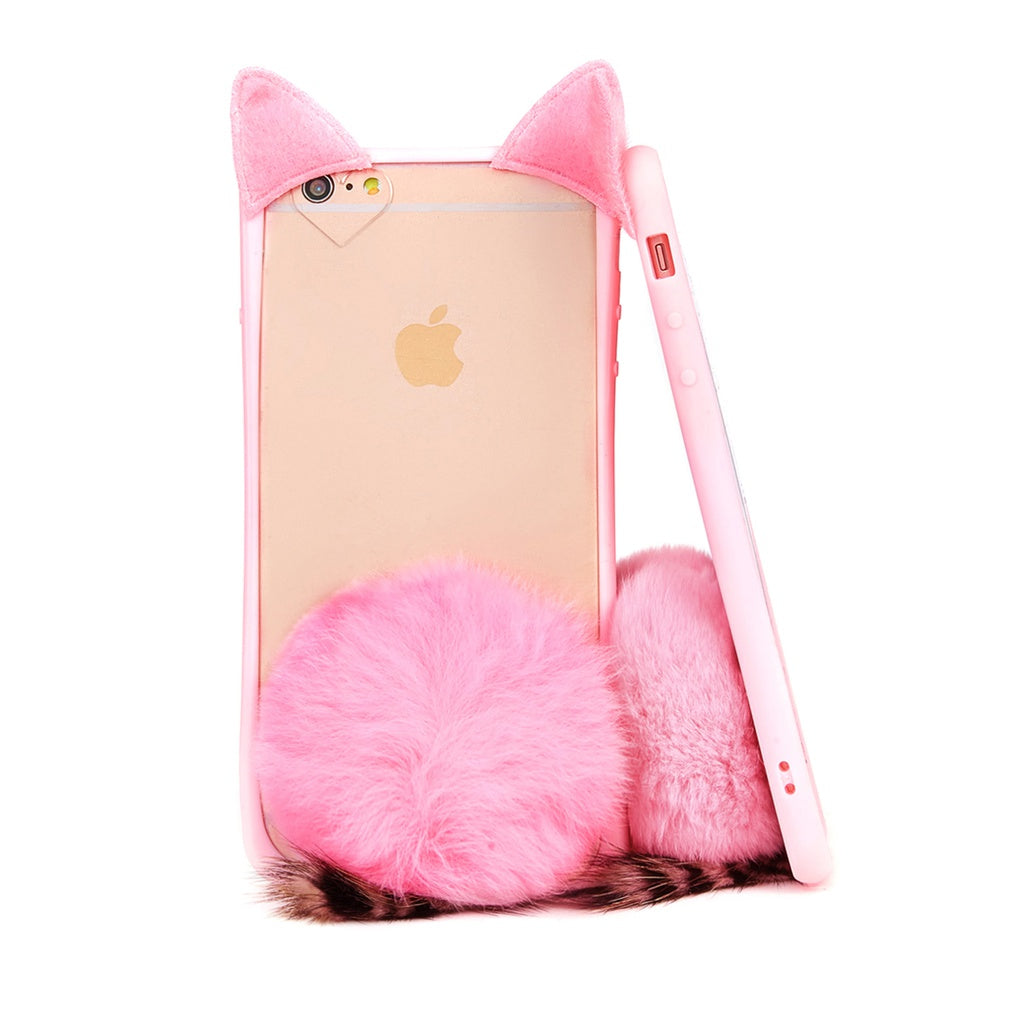 Cat Design iPhone Case With Pom Pom - Anabella's