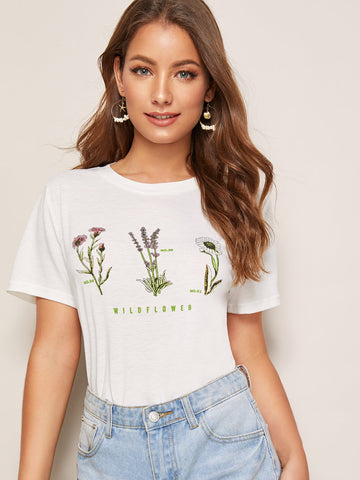Floral & Letter Print Tee