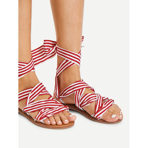 Tie Leg Striped Design Flat Sandals Red