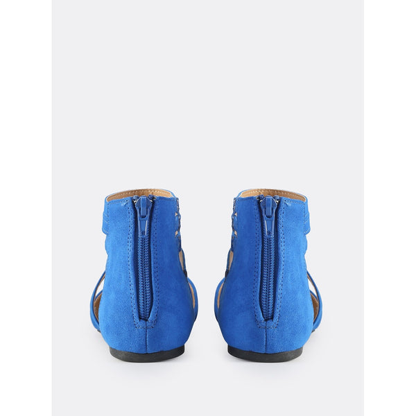 Faux Suede Closed Toe Flats BLUE - Anabella's