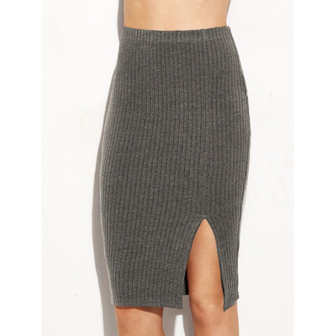 Split Front Ribbed Pencil Skirt Grey