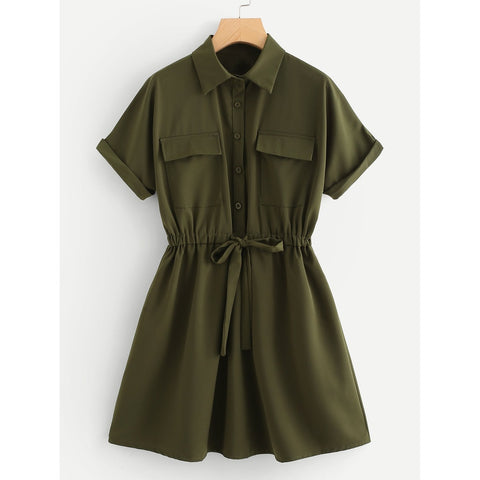 Drawstring Waist Shirt Dress Army Green