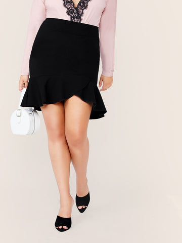 Plus Ruffle Hem Solid Skirt