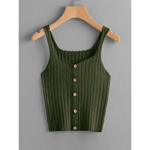 Button Up Rib Knit Top ARMY GREEN