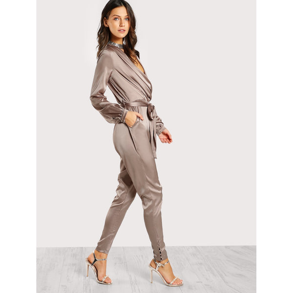 Shawl Collar Wrap And Tie Satin Jumpsuit - Anabella's