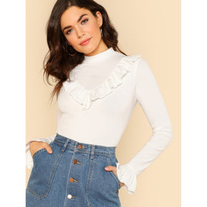 Ribbed Knit Ruffle Trim Tee