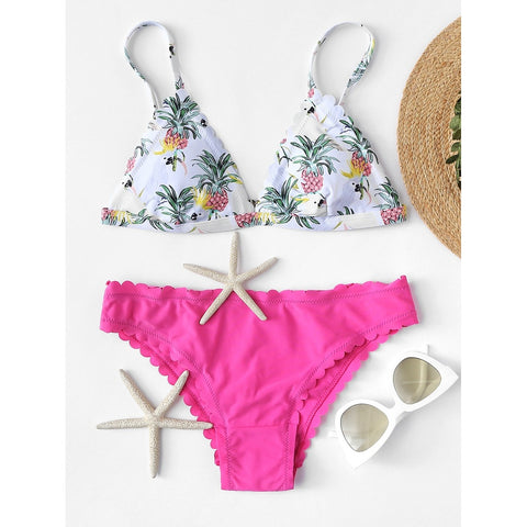 Scallop Edge Mix and Match Bikini Set MULTI/PINK