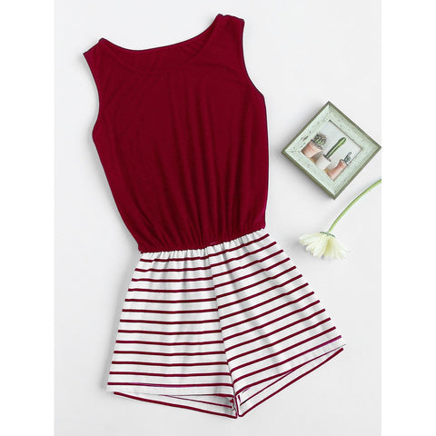 Striped Mix And Match Blouson Romper BURGUNDY