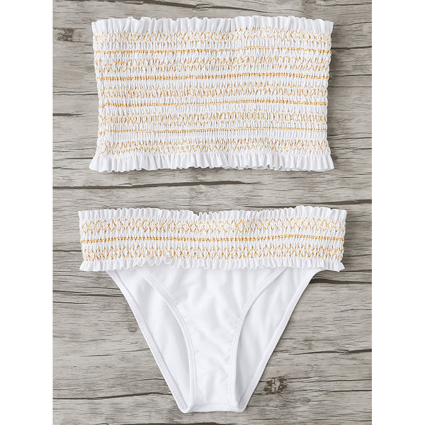 Geo Stitch Shirred Bandeau Bikini Set