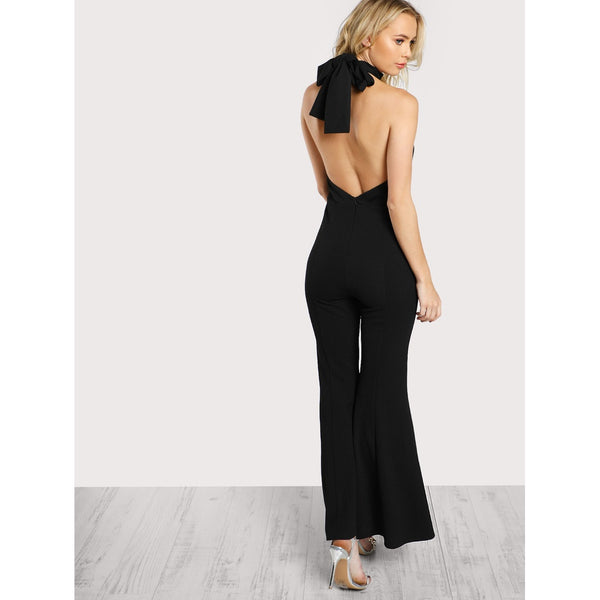 0bffeb022ac ... Keyhole Halter Neck Split Flared Jumpsuit ...