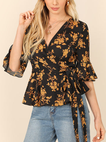 Floral Surplice Wrap Peplum Tea Top
