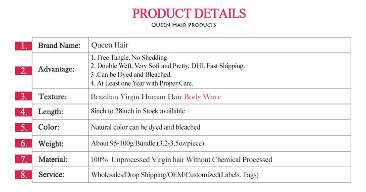100% Virgin Hair Brazilian Body Wave Bundle (1PCS) - LANOOVA STORE