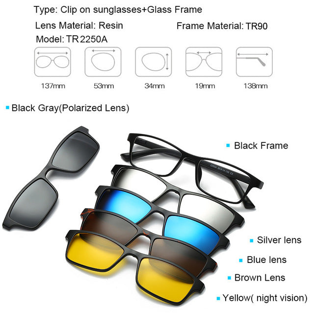 5 in 1 Magnetic Lens Swappable Sunglasses - LANOOVA STORE