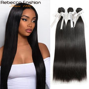 Rebecca Fashion Brazilian Straight Human Hair Bundles Non Remy 8-30 Inch (3PCS) - LANOOVA STORE