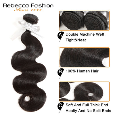 Rebecca Fashion Malaysian Body Wave Human Hair Bundles Non Remy 8-26 Inch (4PCS) - LANOOVA STORE