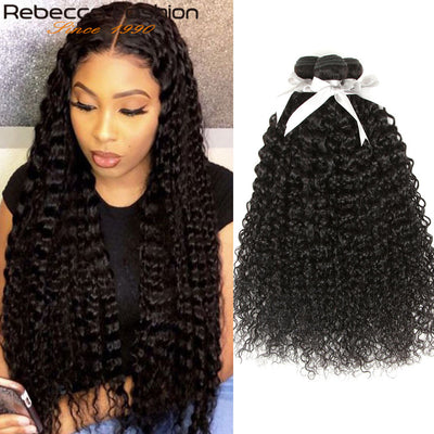 Rebecca Fashion Malaysian Curly Wave Human Hair Bundles Non Remy 10-26 Inch (3PCS) - LANOOVA STORE