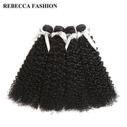 Rebecca Fashion Brazilian Curly Wave Human Hair Bundles Non Remy 10-26 Inch (4PCS) - LANOOVA STORE