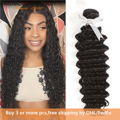 Rebecca Fashion Peruvian Deep Wave Human Hair Bundles Non Remy 10-30 Inch (1PCS) - LANOOVA STORE