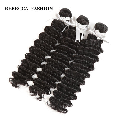 Rebecca Fashion Malaysian Deep Wave Human Hair Bundles Non Remy 10-26 Inch (3PCS) - LANOOVA STORE