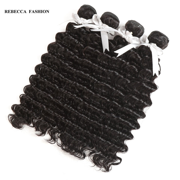 Rebecca Fashion Brazilian Deep Wave Human Hair Bundles Non Remy 10-26 Inch (4PCS) - LANOOVA STORE