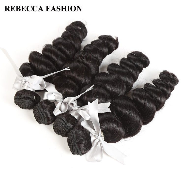Rebecca Fashion Peruvian Loose Wave Human Hair Bundles Non Remy 10-26 Inch (4PCS) - LANOOVA STORE