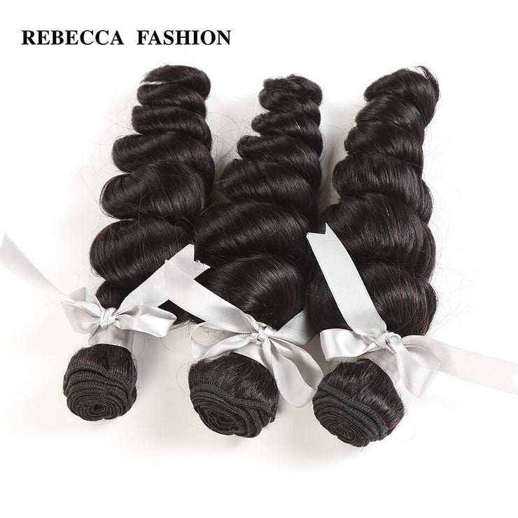 Rebecca Fashion Malaysian Loose Wave Human Hair Bundles Non Remy 10-26 Inch (3PCS) - LANOOVA STORE