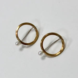 brass ring earrings w/pearl drop, Caitlin Clary