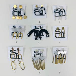 earrings (black + white + brass), Stephanie Lee Paynter