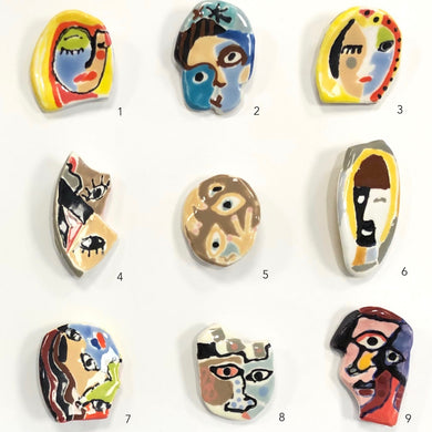 ceramic pins, Mary Ambrose