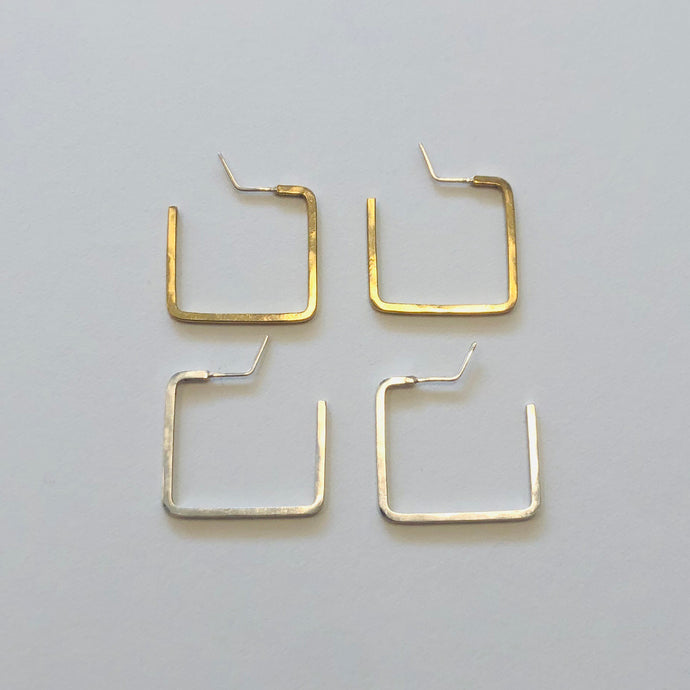 square hoop earrings, Caitlin Clary