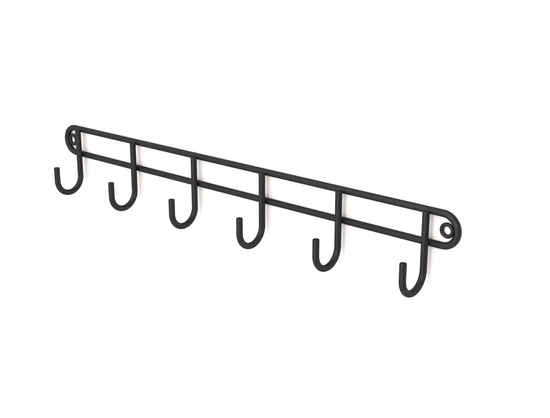 Steelcraft, Stainless Steel , Matt Black , 6 hook rack (wall mounted) Matt Black