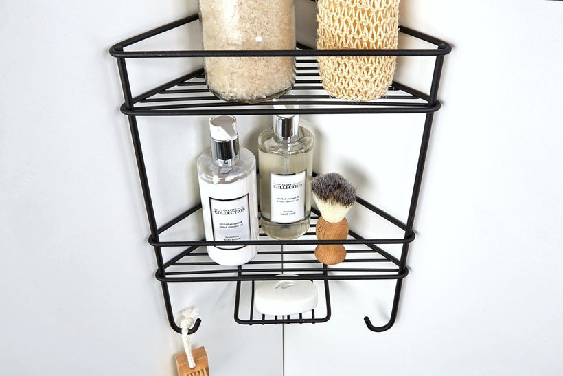 Corner Shower Organiser Double Matt Black, Corner Shower Organiser Double Matt Black, Bathroom Ware, Steelcraft, Steelcraft , www.steelcraft.co.za
