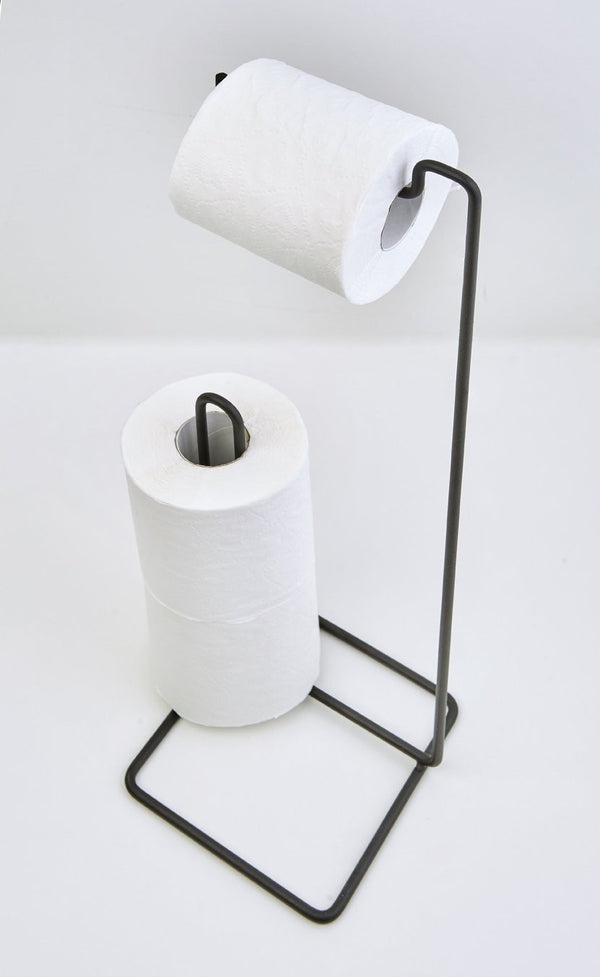 Toilet Roll Holder Stand (Square Design) Matt Black - Steelcraft
