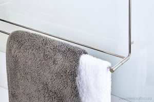 Hook Over Shower Double Towel Rail (Fold Up) - Steelcraft