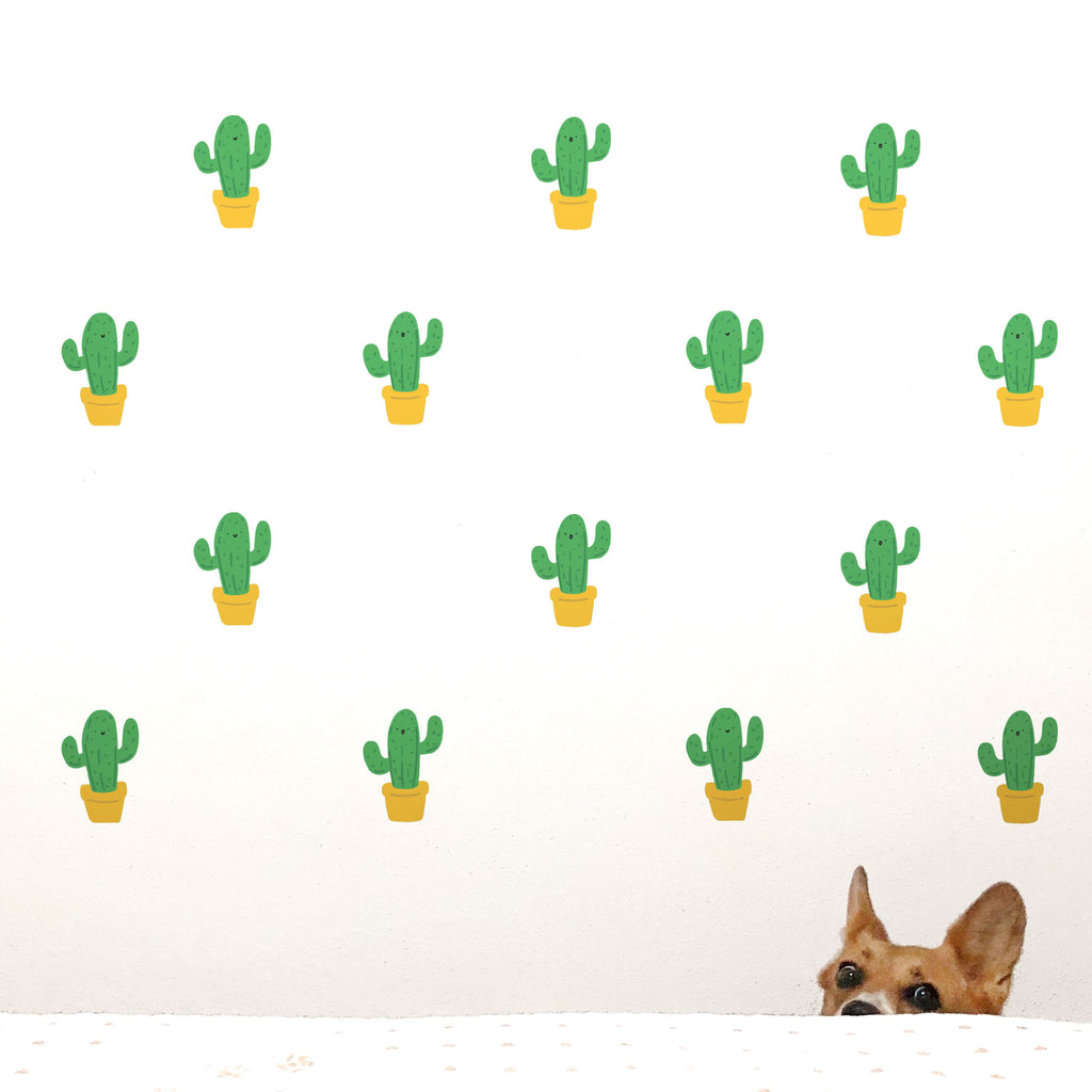 Green Cactus Wall Stickers
