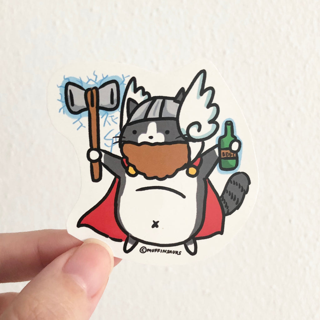 Fat Thor Cat Sticker