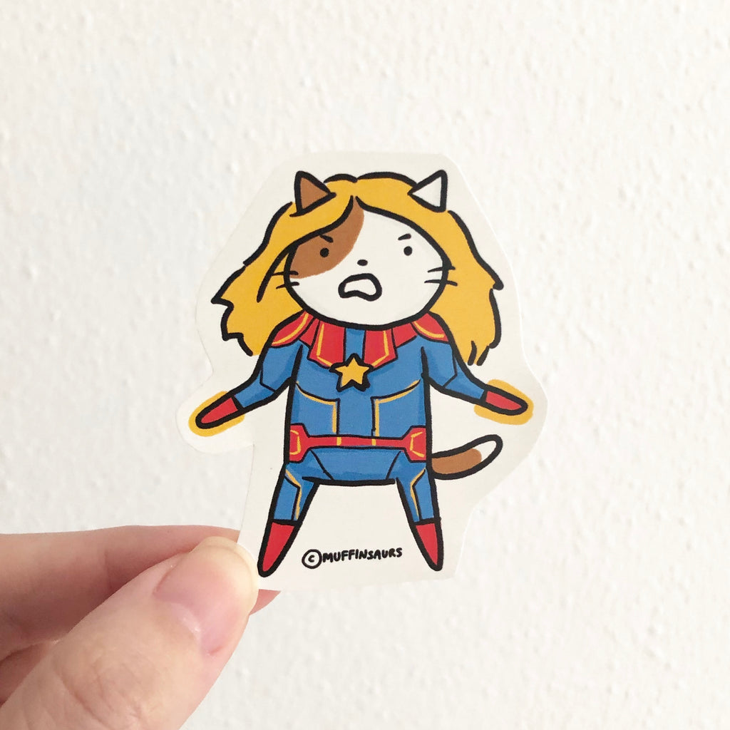Captain Marvel Cat Sticker