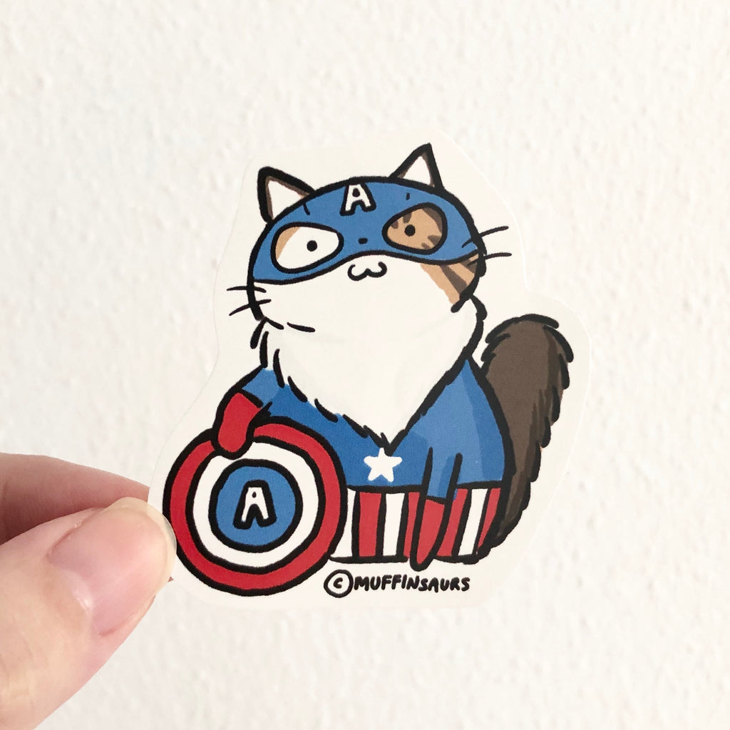 Captain America Cat Sticker