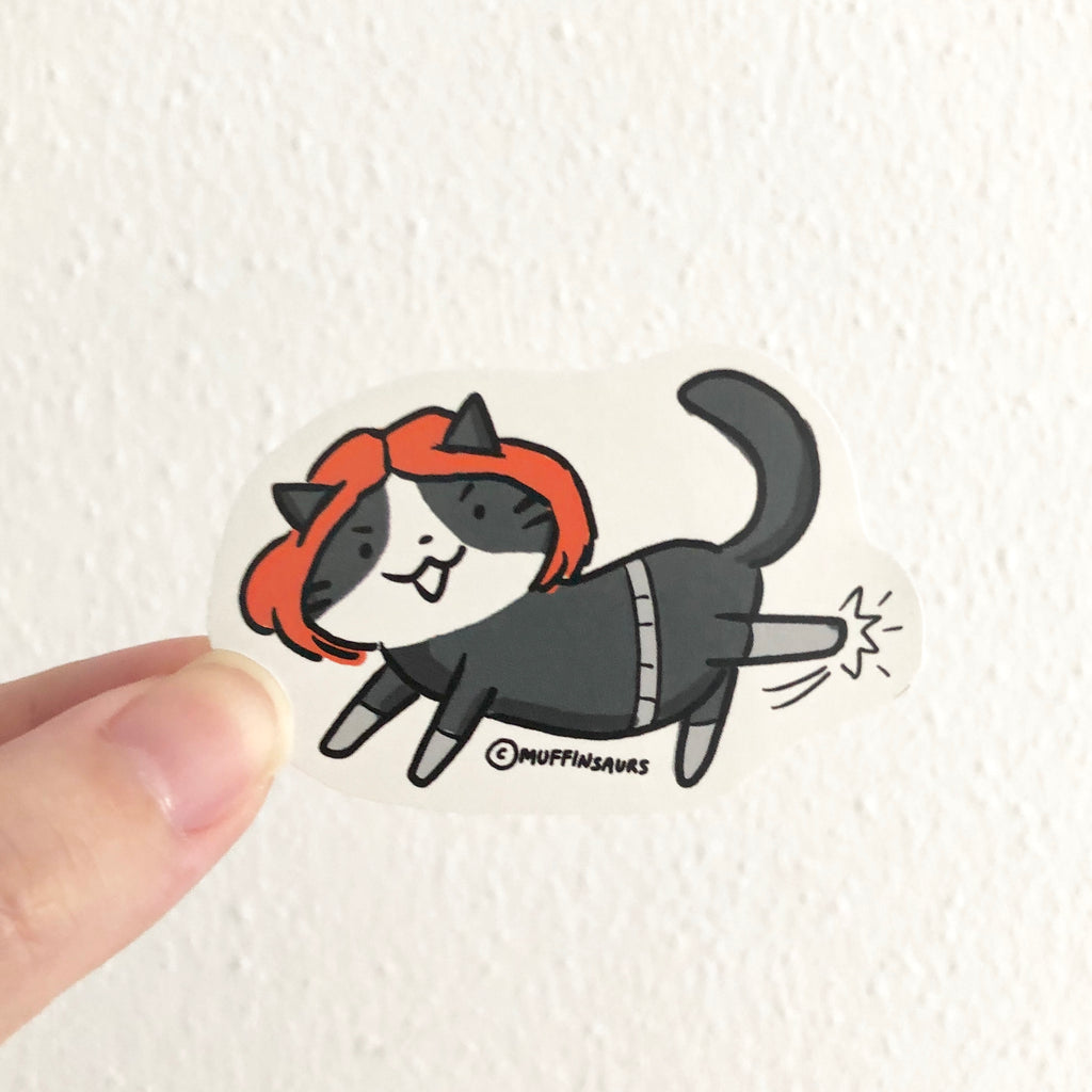 Black Widow Cat Sticker