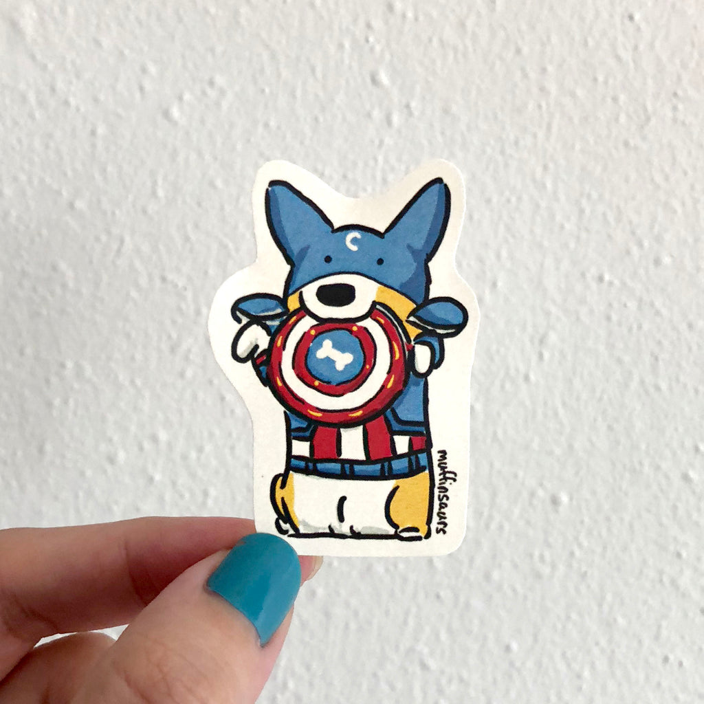 Captain Corgi Sticker