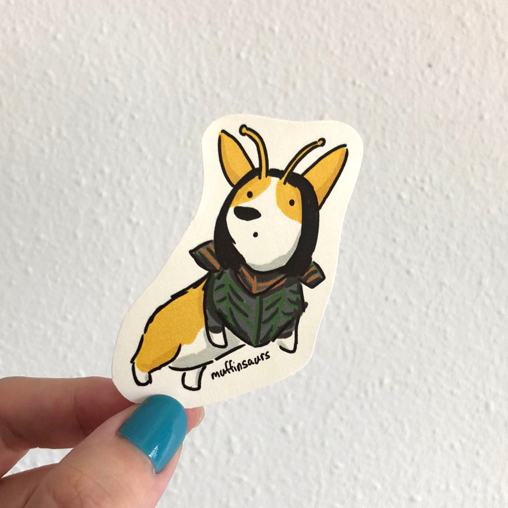 Mantis Corgi Sticker