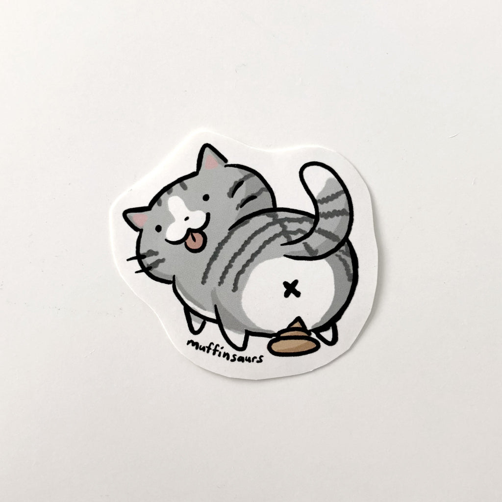 Pooping Cat Sticker