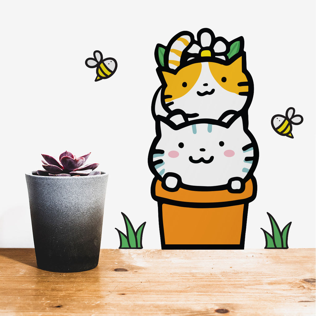 Potted Cats Wall Sticker