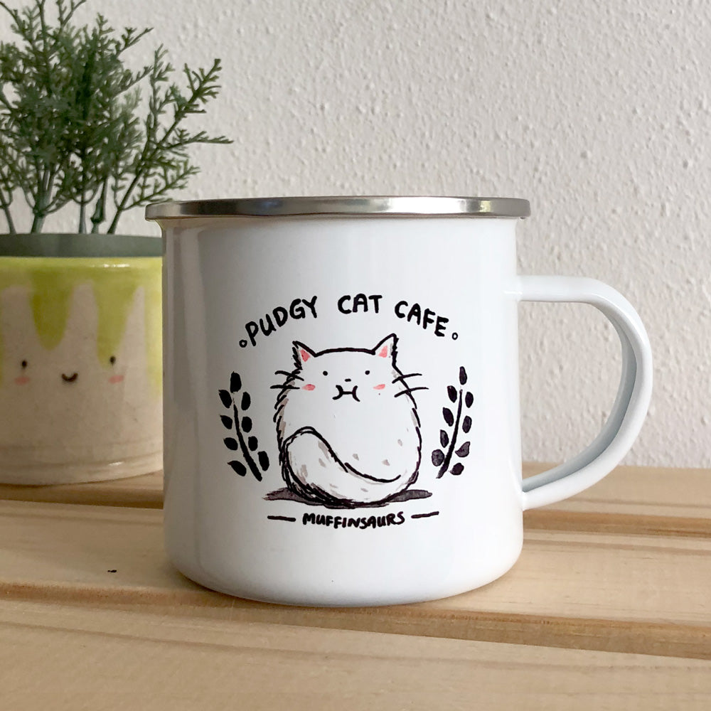 Pudgy Cat Cafe Enamel Mug