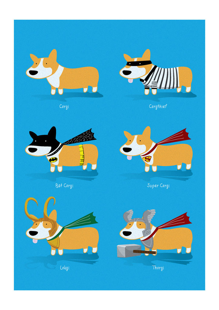 Types of Corgi - Art Print